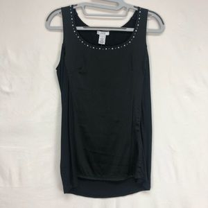 Cache Black Embellished Knit Back Tank Top